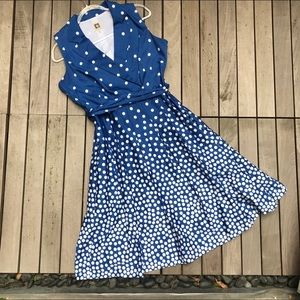 ANNE KLEIN Blue & White Polkadot Sleeveless Dress